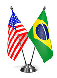 USA and Brazil - Miniature Flags.