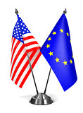 EU and USA - Miniature Flags.