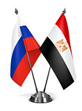 Russia and Egypt  - Miniature Flags.