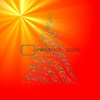 Christmas Bokeh Tree on light ray background