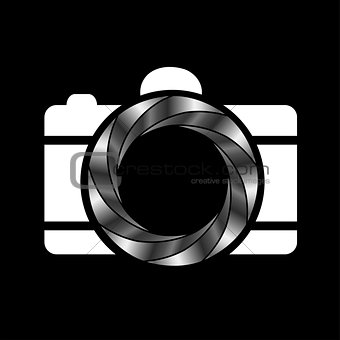 Camera with silver aperture- photography logo