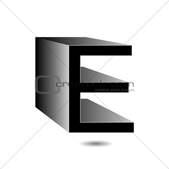 3d alphabet E in grey with shadow