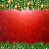 Fir Tree Border With Red Background