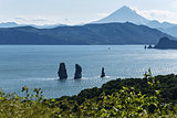 Nature of Kamchatka - view of the bay, rocks and volcano