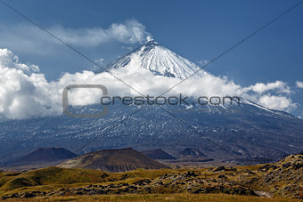 Kliuchevskoi Volcano (Klyuchevskaya Sopka) on Kamchatka - highest active volcano of Eurasia