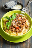 Bowl of spaghetti with bolognese sauce.