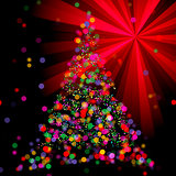 Christmas Abstract Bokeh Tree on light ray background