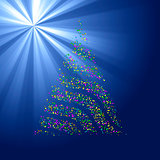 Christmas Bokeh Tree on light ray background