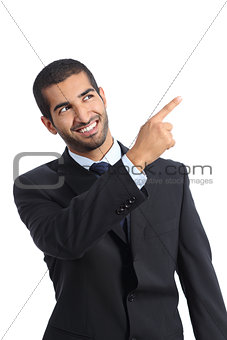 Arab promoter businessman pointing at side