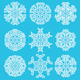 Geometric blue snowflakes