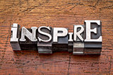 inspire word in metal type