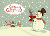 Snowman with gifts, Vector Greeting card