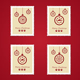 Set of colorful Christmas Postage stamps