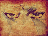 Grunge woman eyes