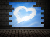 Heart of clouds in hole in brick wall