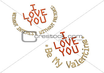 Three-dimensional inscription I LOVE YOU