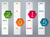 2015 hexagon calendar design for year 2015