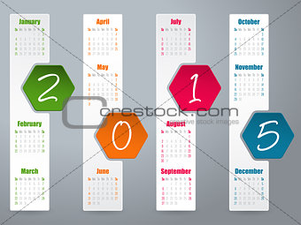 2015 hexagon calendar design for year 2015