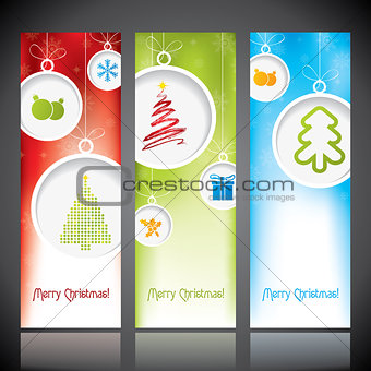 Christmas banners with decorations