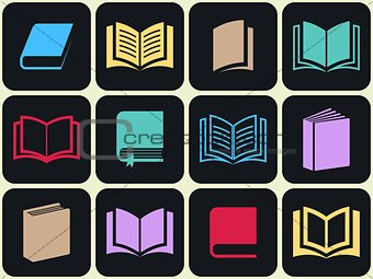 Colorful book icon set