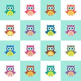 Seamless christmas pattern with owls