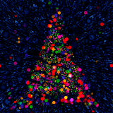 Christmas Abstract Bokeh Tree on blue background