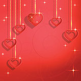 Heart shapes on the abstract background to the Valentine's day.