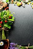 fresh Wild strawberries, honey and wild flowers  background