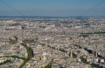 Arc de triomphe from the Eiffel Tower, Paris