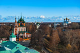 Yaroslavl. Image of ancient Russian city, view from the top. Beautiful house and chapel.