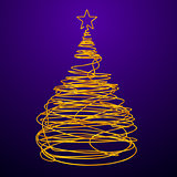 Christmas Tree Made Of Gold Wire. Violet Background.