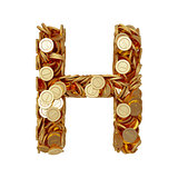 Alphabet letter H with golden coins isolated on white background
