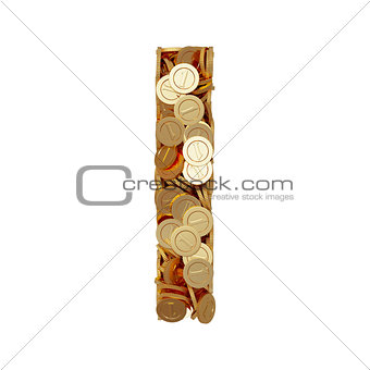 Alphabet letter I with golden coins isolated on white background