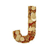 Alphabet letter J with golden coins isolated on white background