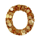 Alphabet letter O with golden coins isolated on white background