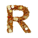 Alphabet letter R with golden coins isolated on white background