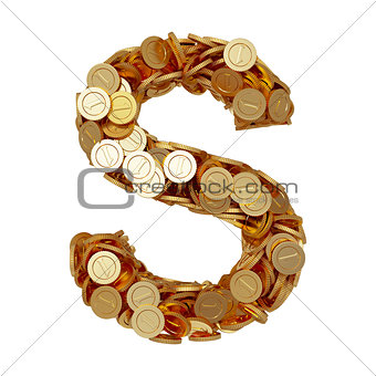 Alphabet letter S with golden coins isolated on white background