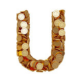Alphabet letter U with golden coins isolated on white background