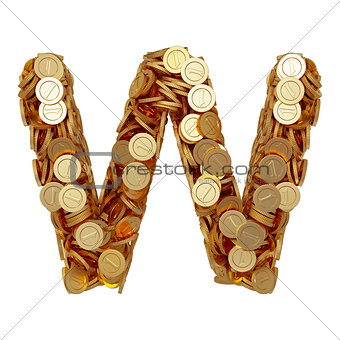 Alphabet letter W with golden coins isolated on white background