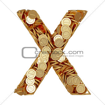 Alphabet letter X with golden coins isolated on white background