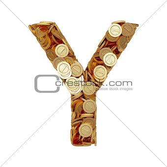 Alphabet letter Y with golden coins isolated on white background