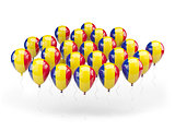 Balloons with flag of romania