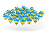 Balloons with flag of rwanda