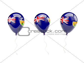 Air balloons with flag of caicos islands