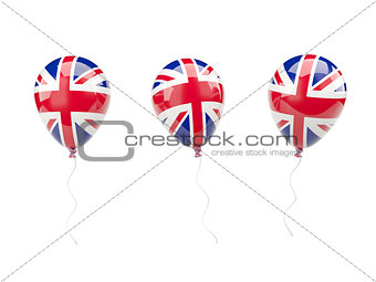 Air balloons with flag of united kingdom