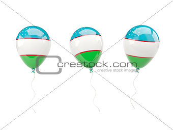 Air balloons with flag of uzbekistan