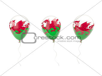Air balloons with flag of wales