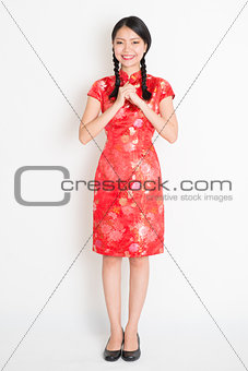 Asian chinese girl greeting