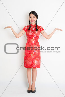 Asian chinese girl open palms