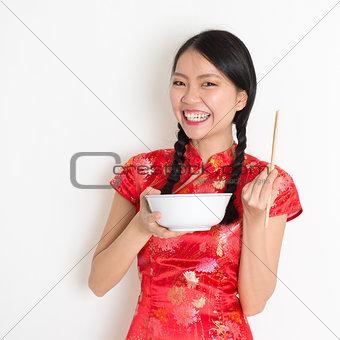 Asian chinese girl eating